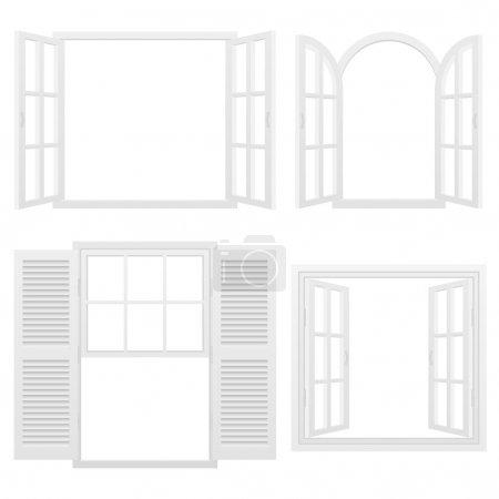 Illustration for Set of open windows.Vector illustration. - Royalty Free Image