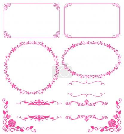 Illustration for Set of decoration of floral lace. Vector illustration. - Royalty Free Image