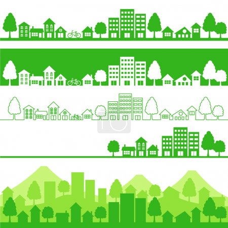 Photo pour Silhouette d'eco cities.vector illustration. - image libre de droit