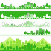 Silhouette of eco citiesVector illustration