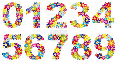 Illustration for Vectorial colorful floral numbers - Royalty Free Image