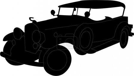 Illustration pour Ancienne silhouette de voiture - vecteur - image libre de droit
