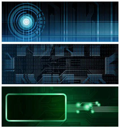 Illustration for Three technology theme horizontal format vector banners. Eps10 - Royalty Free Image