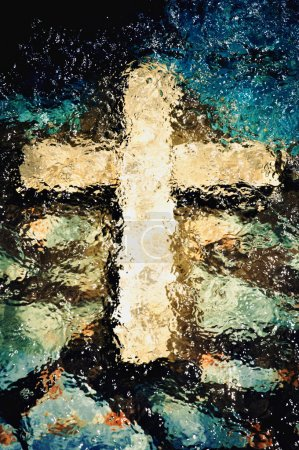 Photo for Cross under the water. Christian holy symbol - Royalty Free Image