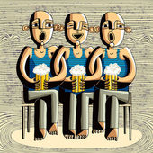 Beer drinking friends drunk boys singing caricature