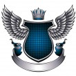 Classic style metallic emblem with wings, shield, ...