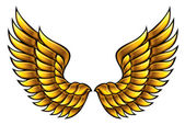 Golden wings made in classic heraldic style Vector eps8
