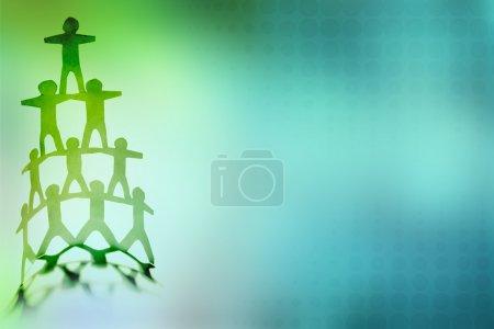 Photo pour Pyramide de l'équipe humaine sur fond de couleur - image libre de droit