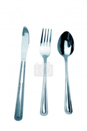 Photo for Knife, fork and spoon isolated on white - Royalty Free Image