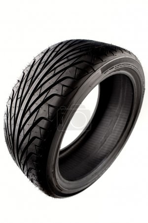 Photo for Auto tyre isolated on plain background - Royalty Free Image