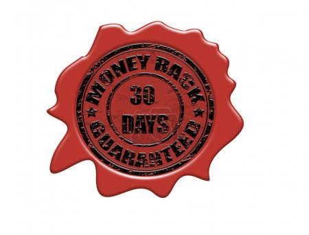 Wax seal with the text money back guaranteed, vect...