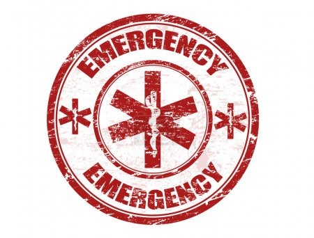 Illustration for Red office rubber stamp with the emergency medical care symbol and the word emergency written inside - Royalty Free Image