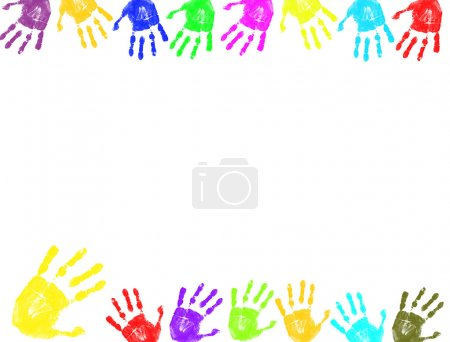 Illustration for Colorful hand prints background.Frame for text - Royalty Free Image