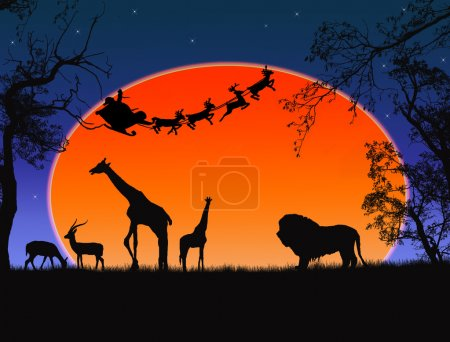 Illustration pour Père Noël en Afrique - silhouettes d'animaux sauvages et Père Noël volant - image libre de droit