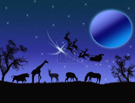 Illustration for Santa Claus in Africa - silhouettes of wild animals and flying Santa - Royalty Free Image