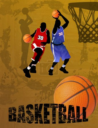 Illustration for Action players, vector illustration. Basketball team on abstract background - Royalty Free Image