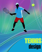 Tennis action player Abstract tennis poster vector illustration