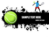 Grunge tennis poster with tennisl ball and playervector illustration