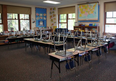 Photo for Third grade classroom in US school after dismissal - Royalty Free Image