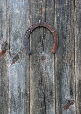 Lucky horseshoe on barn door