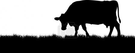 Illustration pour Vache sur une prairie - image libre de droit