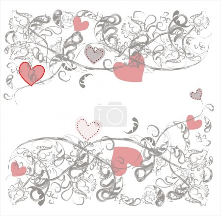 Background with a delicate gray floral pattern with pink hearts. Horizontal. Free text
