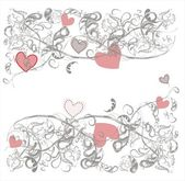 Background with a delicate gray floral pattern with pink hearts Horizontal Free text