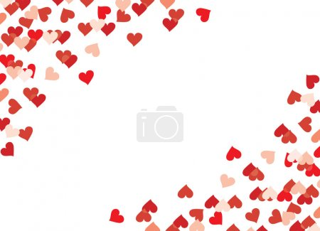 Many red hearts on a white background