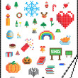 Vector signs of various holidays in the pixel-art ...
