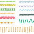 Vector collection of different form and color stitches