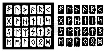 Vector collection of the black and white runes...