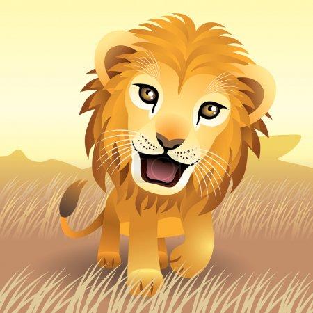 Illustration pour Illustration vectorielle d'un bébé lion. Une partie de ma collection de bébés animaux . - image libre de droit