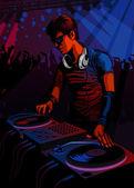 Vector illustration of a DJ spinning at a club