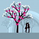 Lovely vector illustration of lovers kissing under a love tree.