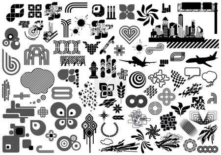 Illustration for Vector set with over 100 design elements and logo's. Need more? Check out my portfolio. - Royalty Free Image