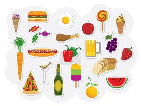 Photo pour Ensemble vectoriel avec différents types de nourriture et de boissons . - image libre de droit
