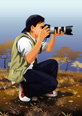 Vector illustration of a photographer taking a picture This image is part of my Profession Set