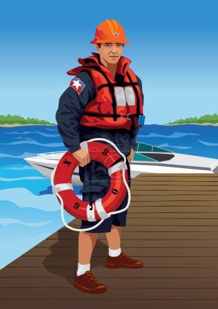 Illustration pour Illustration vectorielle d'un sauveteur. Cette image fait partie de mon ensemble de profession . - image libre de droit
