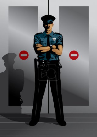 Illustration for Vector illustration of a security guard guarding doors. This image is part of my Profession Set. - Royalty Free Image