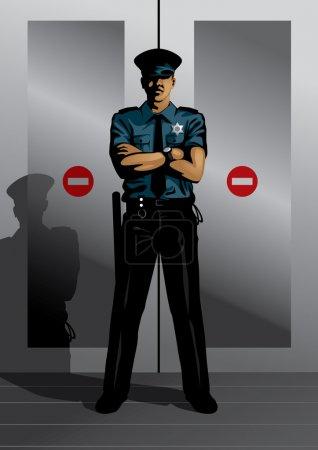 Illustration pour Illustration vectorielle d'un gardien de sécurité gardant les portes. Cette image fait partie de mon ensemble de profession . - image libre de droit
