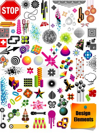 Illustration for Vector collection with many different shapes and design elements. - Royalty Free Image