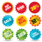 Set of colorful vector sale stickers and labels More sale illustrations in my portfolio