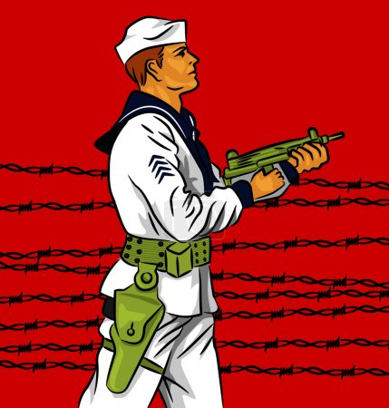 Illustration pour Illustration vectorielle d'un soldat tenant une arme . - image libre de droit