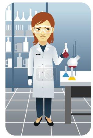 Illustration pour Scientifique dans un labo, tenant un bécher . - image libre de droit