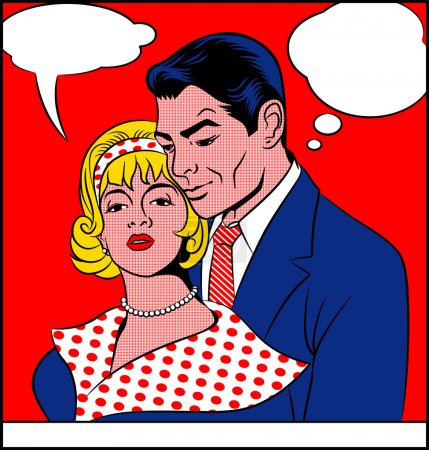 Illustration for Pop art painting of a couple in love. - Royalty Free Image