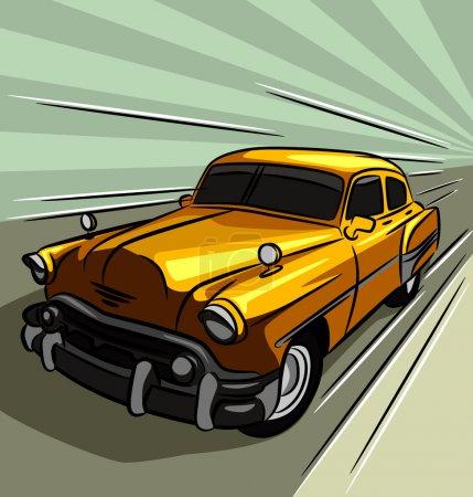 Ilustración de Exceso de velocidad a través del camino de coches de época - Imagen libre de derechos