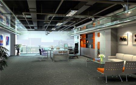 Photo pour L'intérieur de bureau moderne (rendu 3d) - image libre de droit