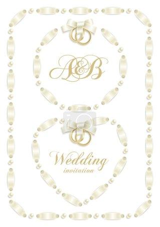 Photo pour Arrière-plans de mariage avec ruban faire un cadre pour votre texte - image libre de droit