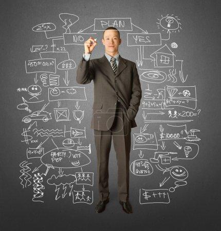 Photo pour Homme d'affaires avec marqueur écrivant quelque chose sur tableau d'écriture en verre - image libre de droit