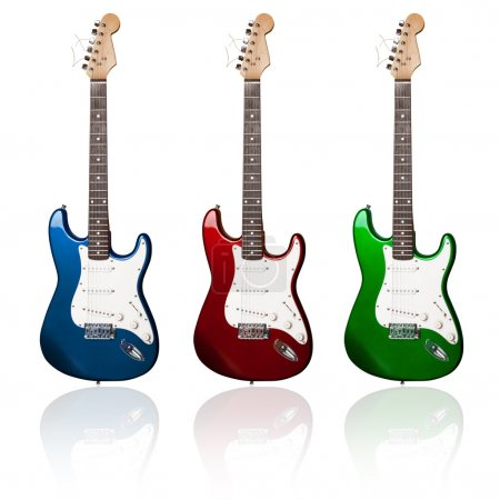 Photo for Three electric guitars of different colors with reflections - Royalty Free Image